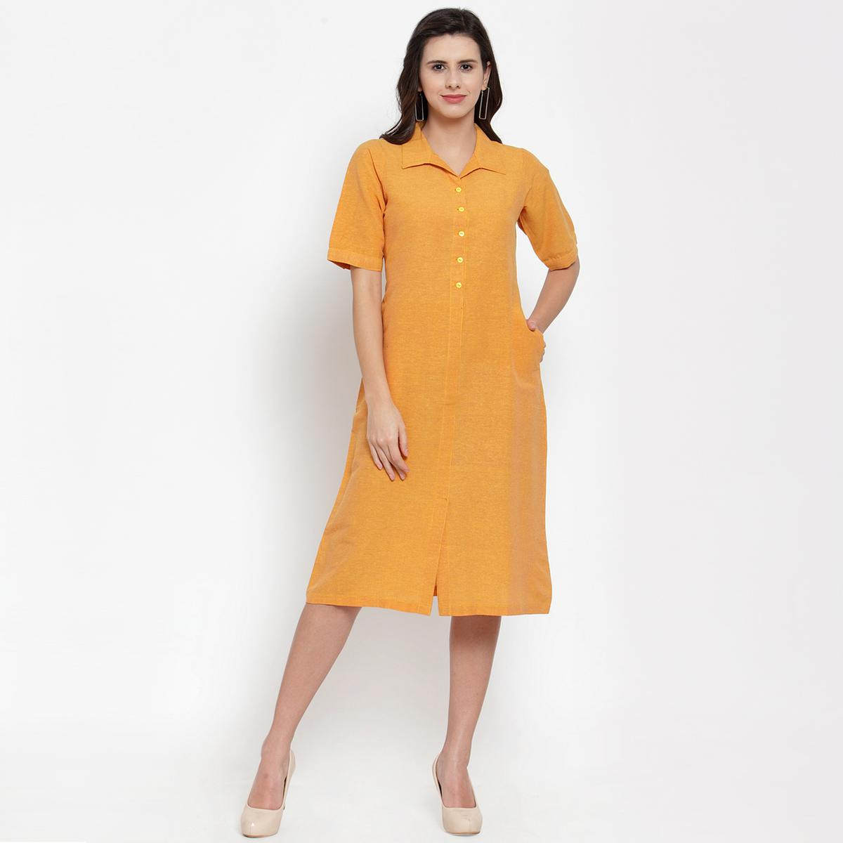 Mesmeric Yellow Colored Casual Wear Cotton Western Dress