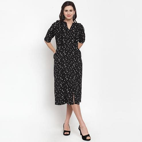 Eye-catching Black Colored Casual Wear Printed Cotton Western Dress