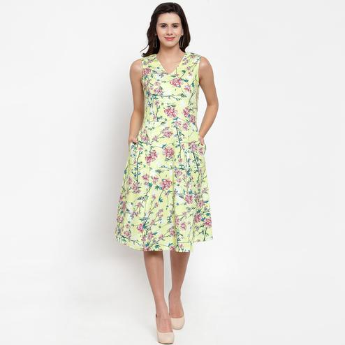 Amazing Light Yellow Colored Casual Wear Printed Cotton Western Dress