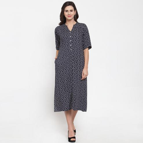 Gorgeous Blue Colored Casual Wear Printed Cotton Western Dress
