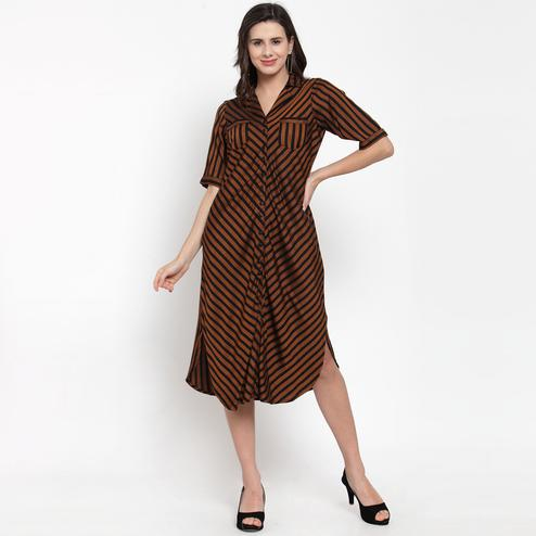 Blissful Brown Colored Casual Wear Printed Cotton Western Dress
