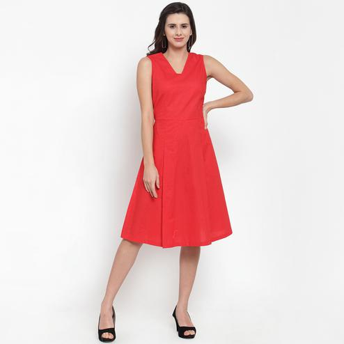 Lovely Red Colored Casual Wear Printed Cotton Western Dress