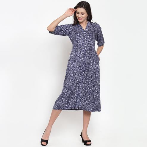 Impressive Blue Colored Casual Wear Printed Cotton Western Dress