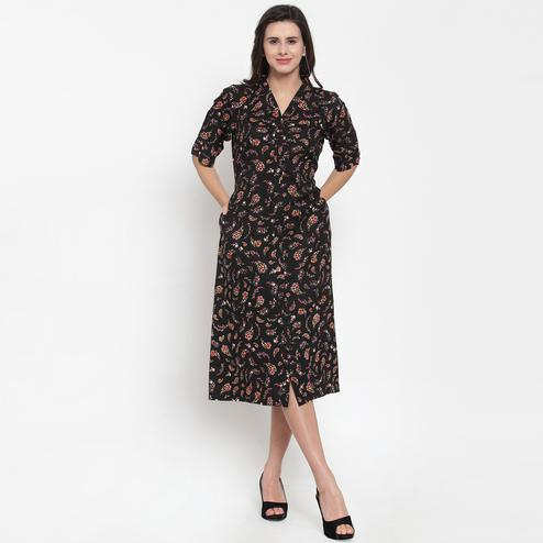 Blooming Black Colored Casual Wear Printed Cotton Western Dress