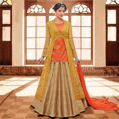 Multi Color Thread Emboridered Work Lehenga Suit