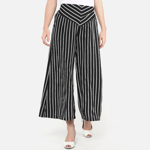 Blissful Black Colored Casual Wear Stripes Printed Rayon Palazzo