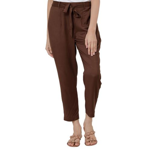 Lovely Brown Colored Casual Wear Rayon Palazzo With Belt