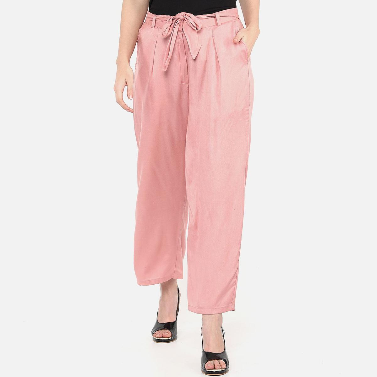 Majesty Peach Colored Casual Wear Rayon Palazzo With Belt