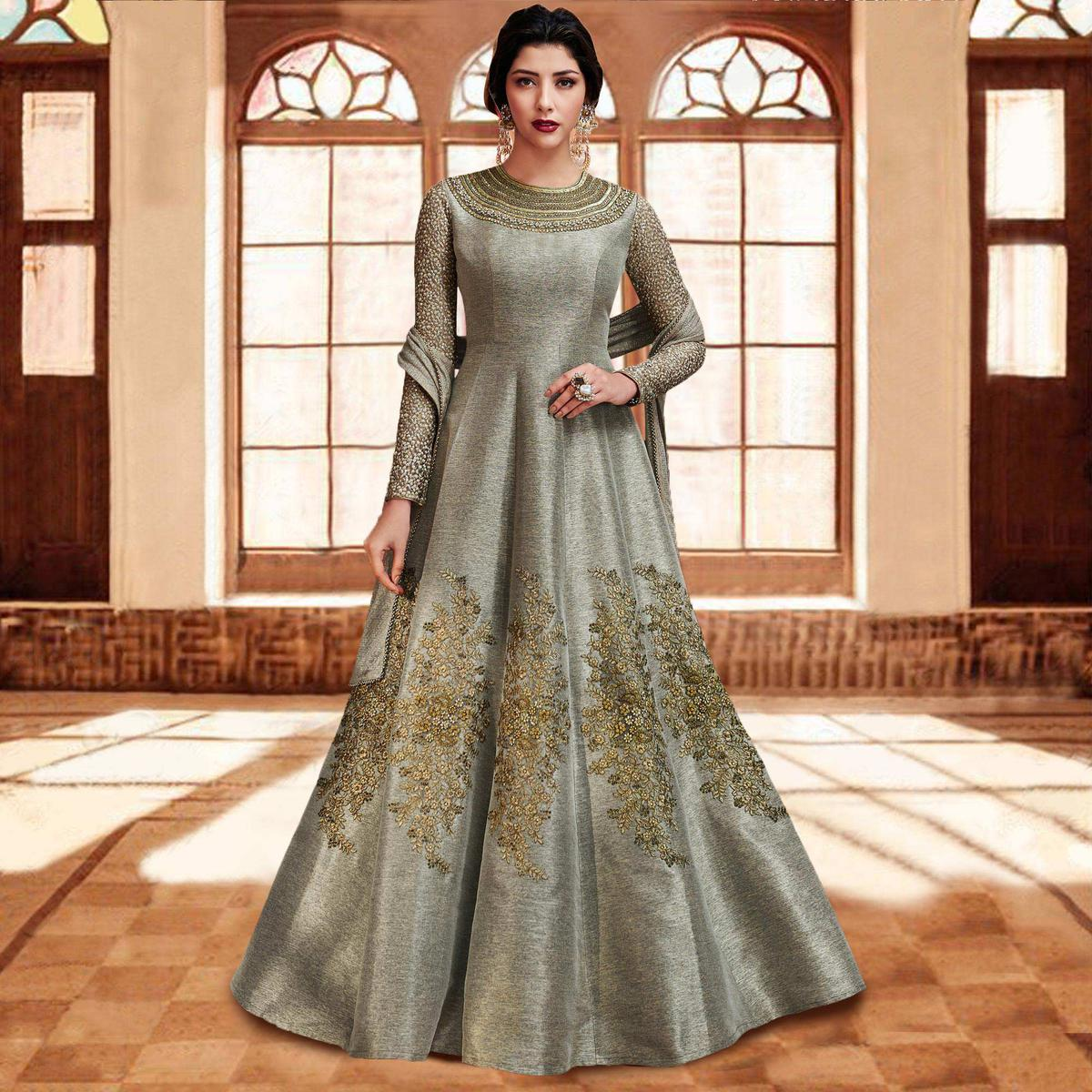 42c808649e Buy Grey Floor Length Anarkali Style Suit for womens online India, Best  Prices, Reviews - Peachmode