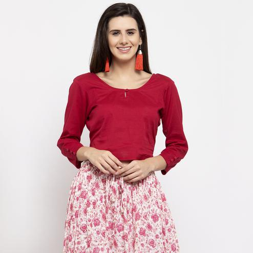 Sophisticated Maroon Colored Casual Wear Solid Cotton Western Top