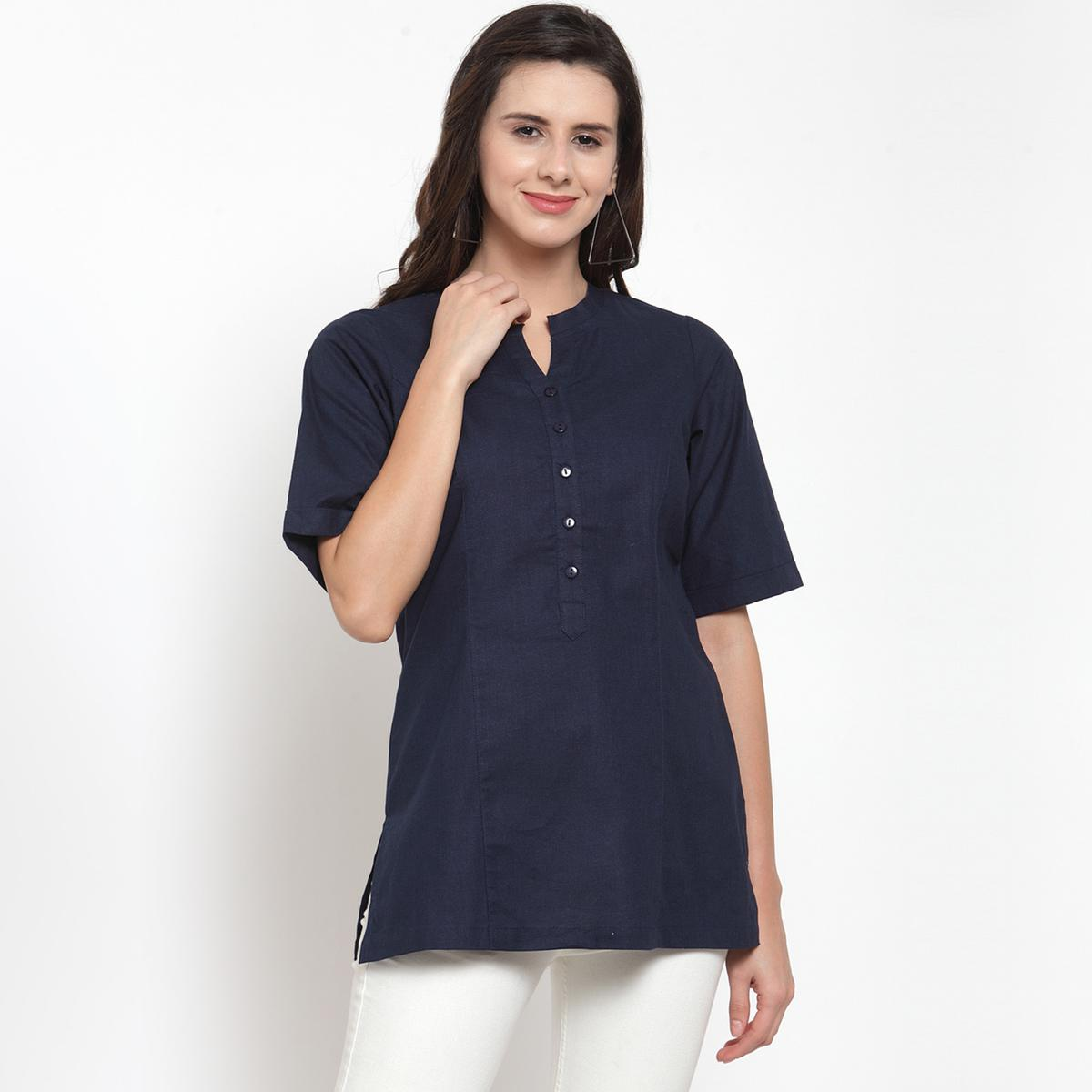 Radiant Blue Colored Casual Wear Solid Cotton Western Top