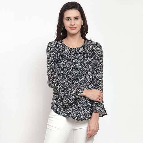 Energetic Black Colored Casual Wear Printed Cotton Western Top