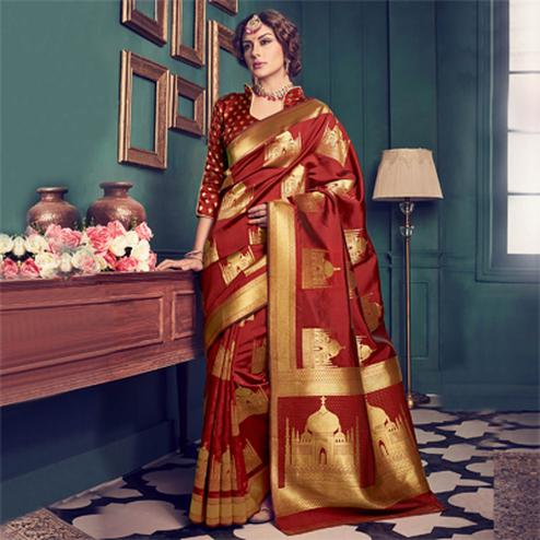Maroon Weaving Work Silk Saree