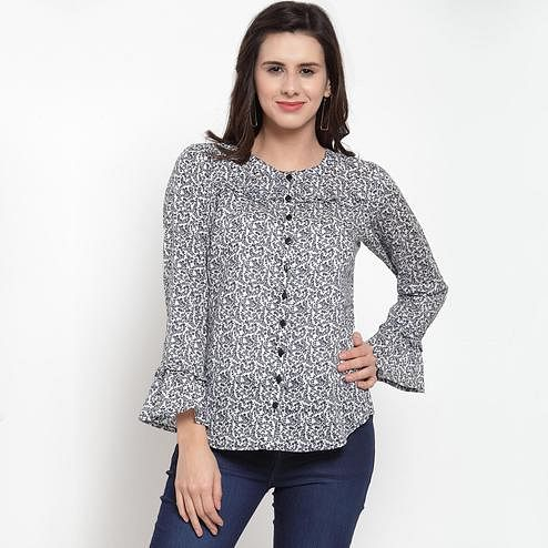 Glowing White Colored Casual Wear Printed Cotton Western Top