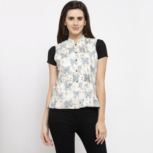 Prominent Off White Colored Casual Wear Printed Stylish Cotton Shrug