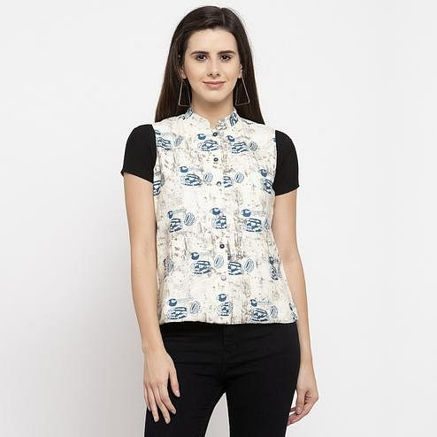 Appealing Off White Colored Casual Wear Printed Stylish Cotton Shrug