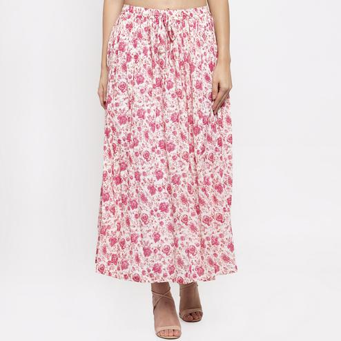 Blissful Pink Colored Casual Wear Printed Viscose-Rayon-Crepe Maxi Skirt