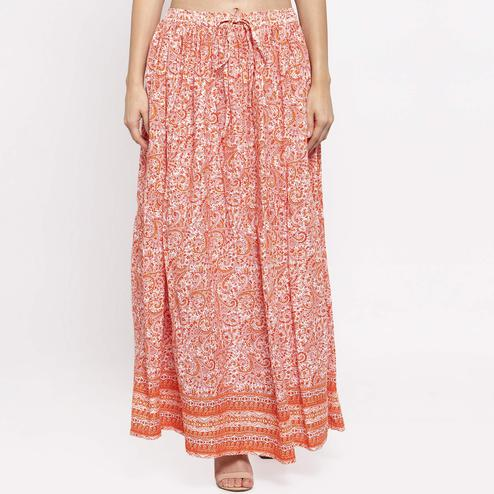 Lovely White-Orange Colored Casual Wear Printed Viscose-Rayon-Crepe Maxi Skirt