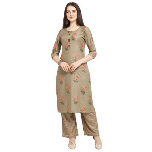 Intricate Brown Colored Casual Wear Floral Printed Cotton Kurti-Palazzo Suit