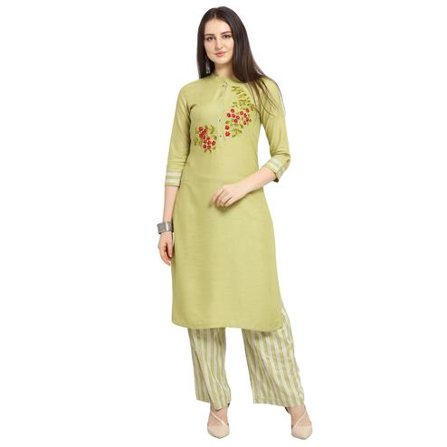 Arresting Light Olive Green Colored Casual Wear Floral Embroidered Cotton Kurti-Palazzo Suit