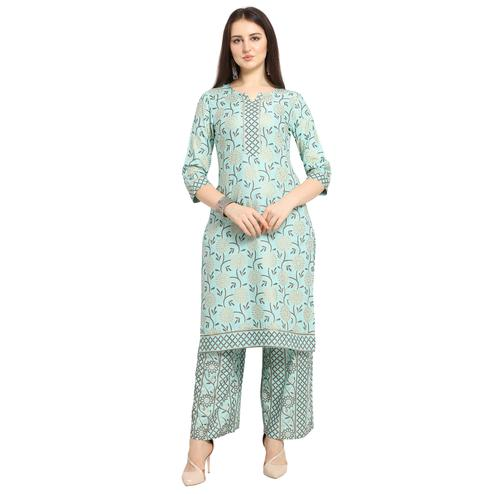 Desirable Blue Colored Casual Wear Floral Printed Cotton Kurti-Palazzo Suit