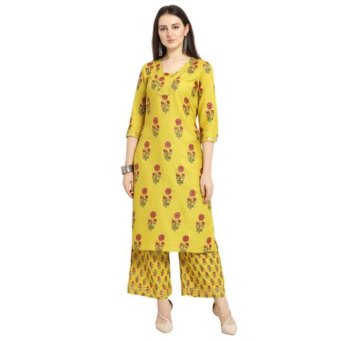 Trendy Yellow Colored Casual Wear Floral Printed Cotton Kurti-Palazzo Suit