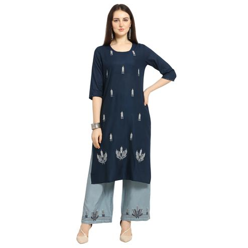 Elegant Blue Colored Casual Wear Floral Embroidered Cotton Kurti-Palazzo Suit