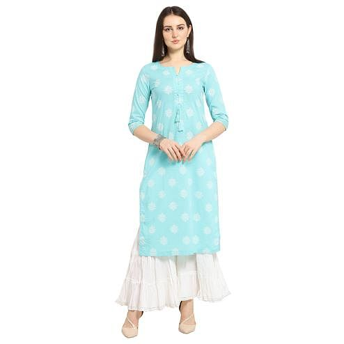 Radiant Blue Colored Casual Wear Printed Cotton Kurti-Palazzo Suit