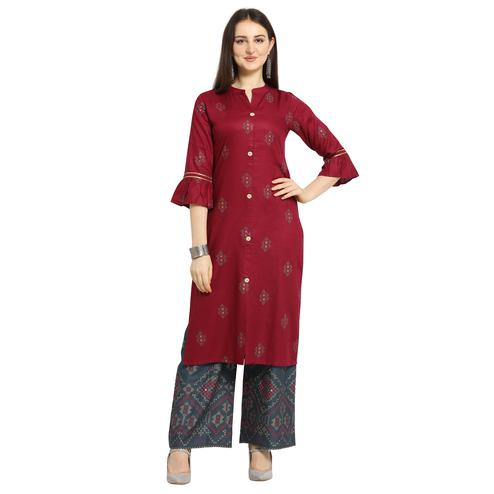 Energetic Maroon Colored Casual Wear Printed Cotton Kurti-Palazzo Suit