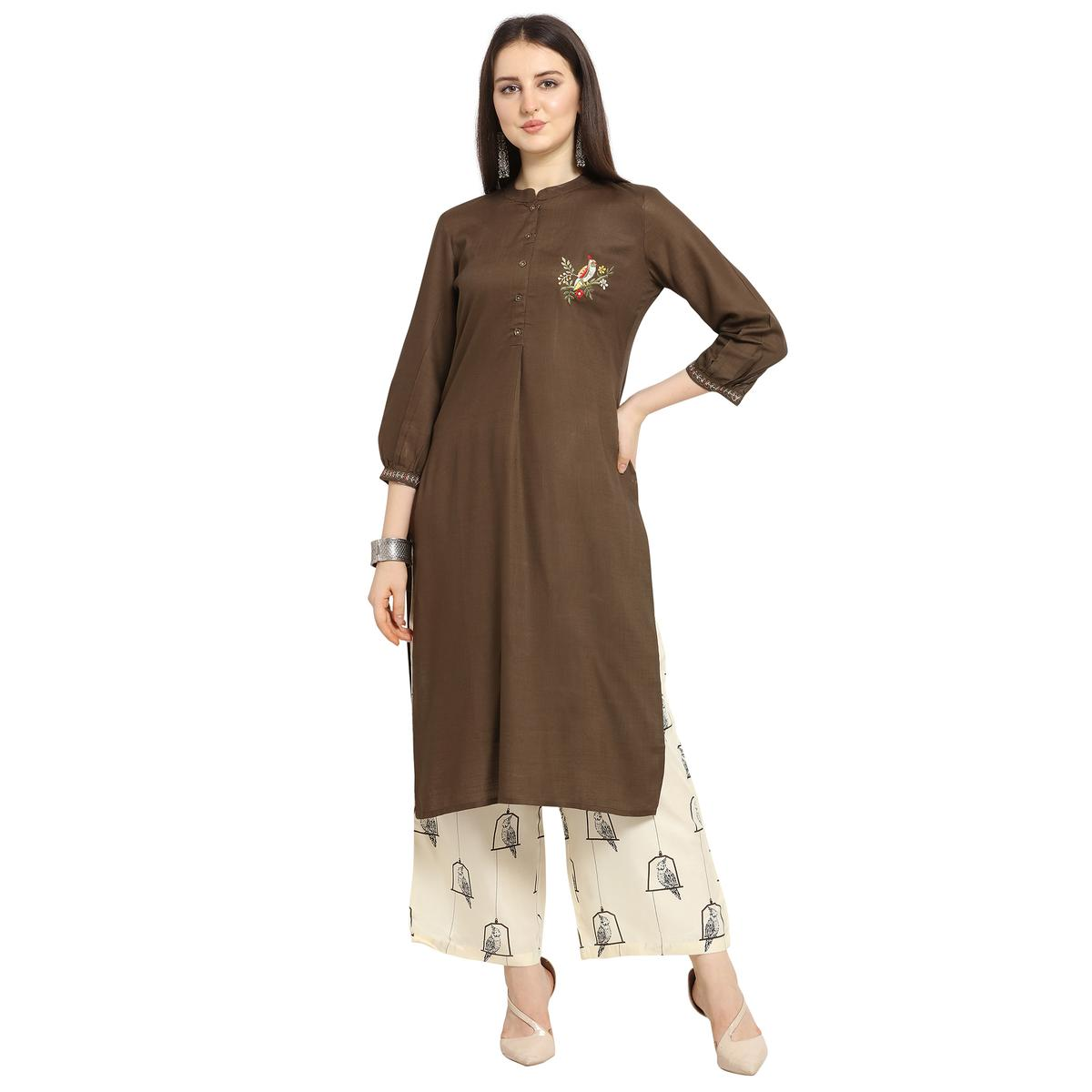 Exceptional Brown Colored Casual Wear Floral Printed Cotton Kurti-Palazzo Suit