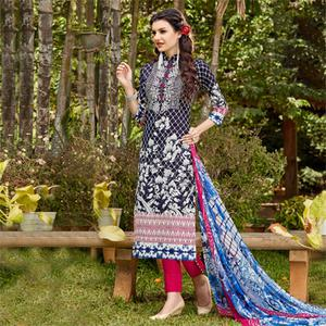 Navy Blue - Pink Digital Printed Dress Material