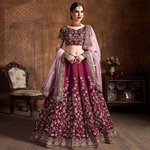 Appealing Maroon Partywear Embroidered Raw Silk Lehenga