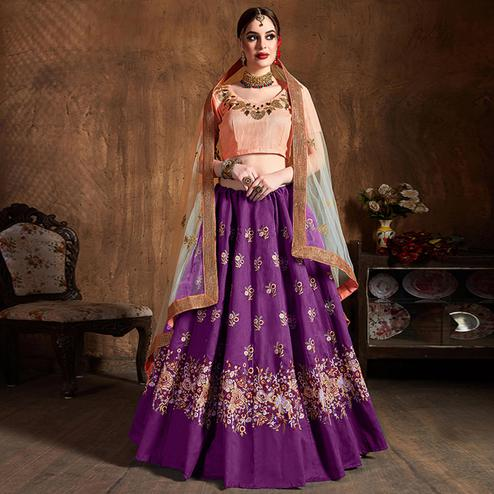 Entrancing Purple Partywear Embroidered Raw Silk Lehenga