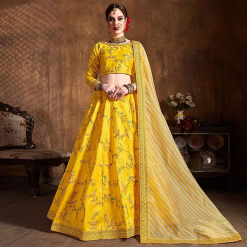 Groovy Yellow Partywear Embroidered Mulberry Silk Lehenga