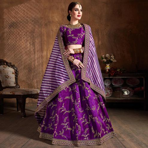 Adorning Purple Partywear Embroidered Mulberry Silk Lehenga