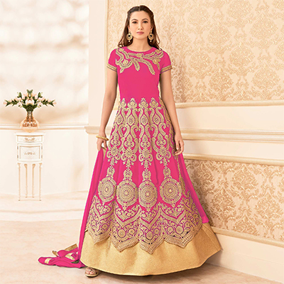 Pink Heavy Embroidered Work Anarkali Suit