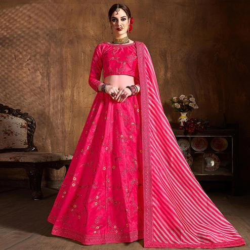 Exclusive Pink Partywear Embroidered Mulberry Silk Lehenga