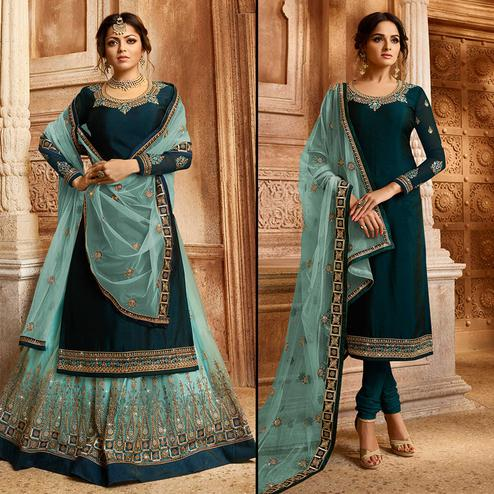 Pretty Dark Teal Blue Colored Partywear Embroidered Satin-Georgette Dual Bottom Suit