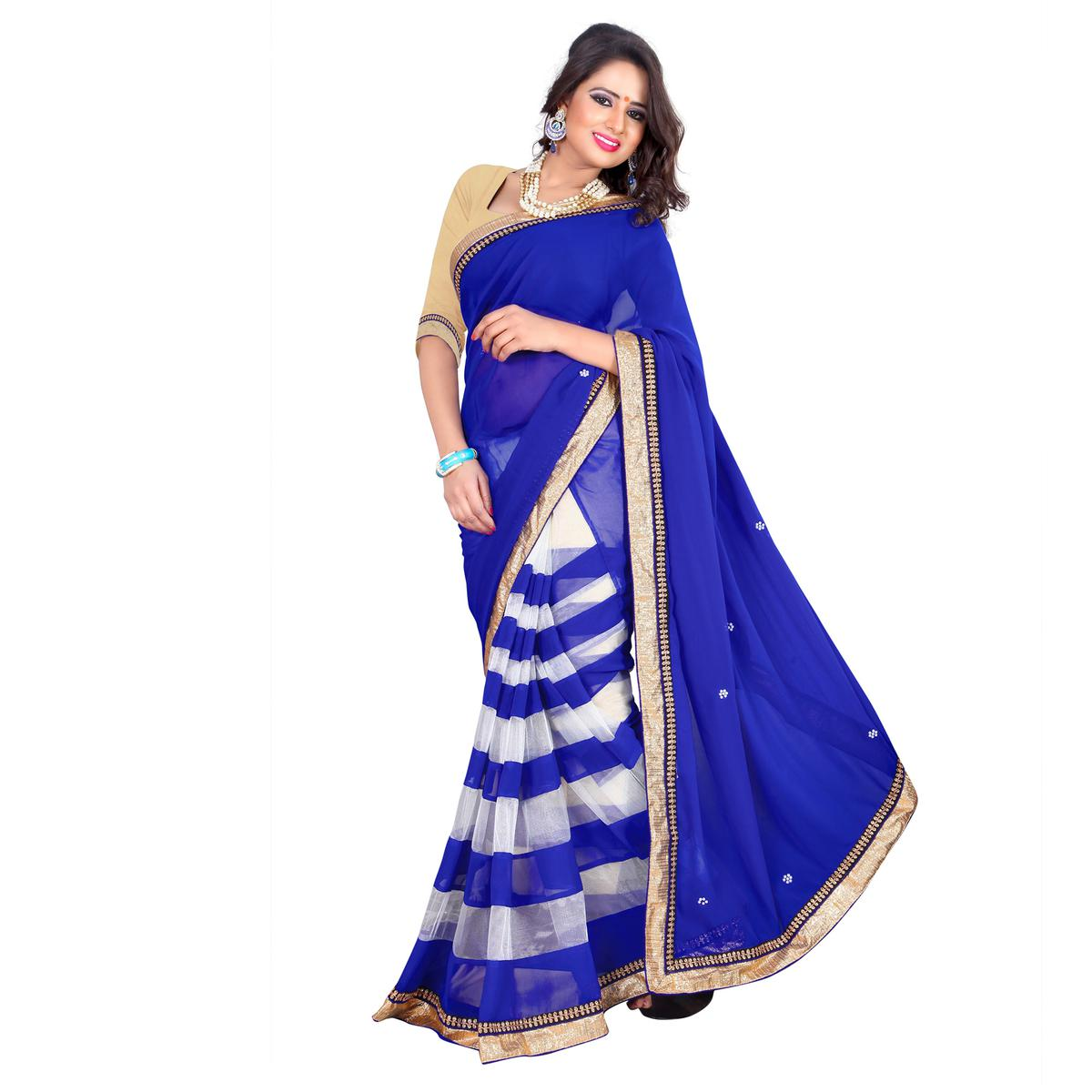 Blue - White Georgette Net Saree