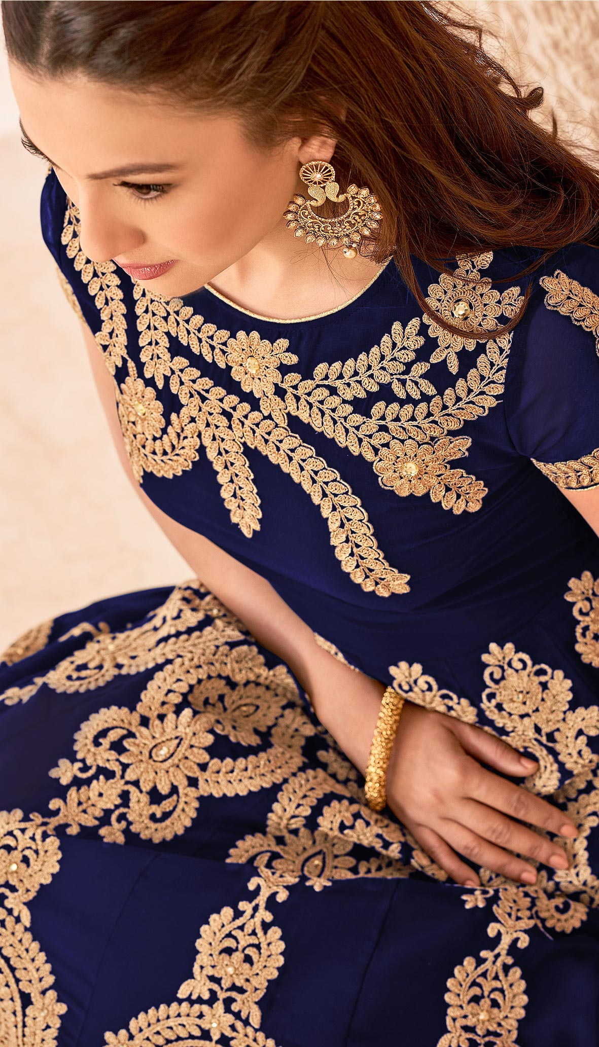 Blue Heavy Embroidered Work Anarkali Suit