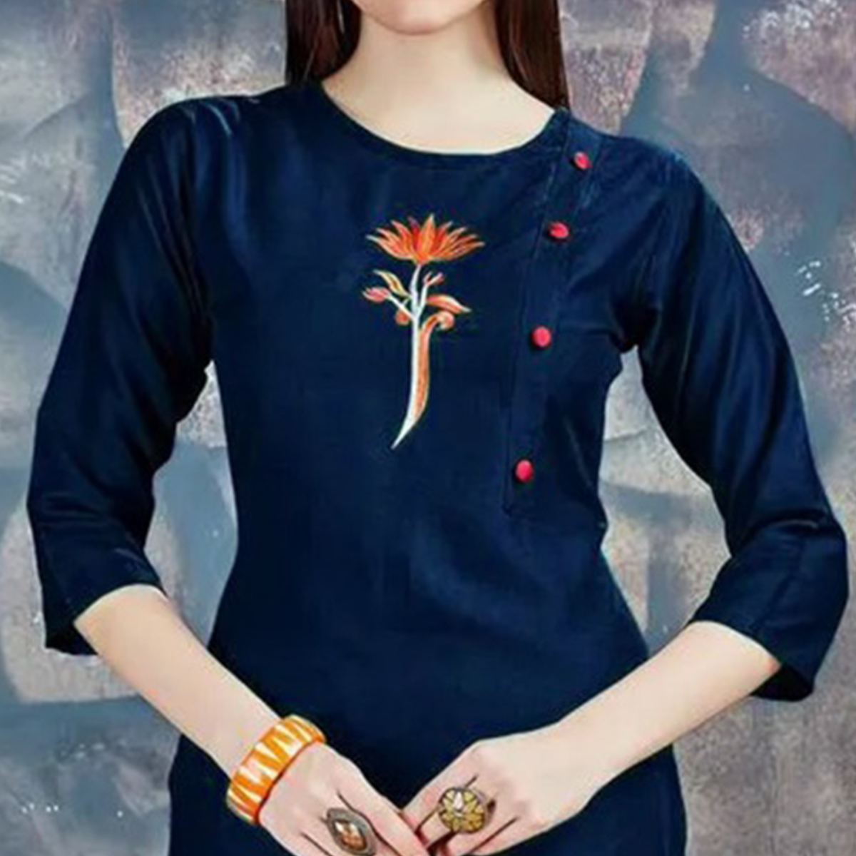 Pretty Navy Blue Colored Casual Embroidered Rayon Kurti