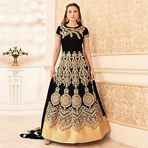 Black Heavy Embroidered Anarkali Suit