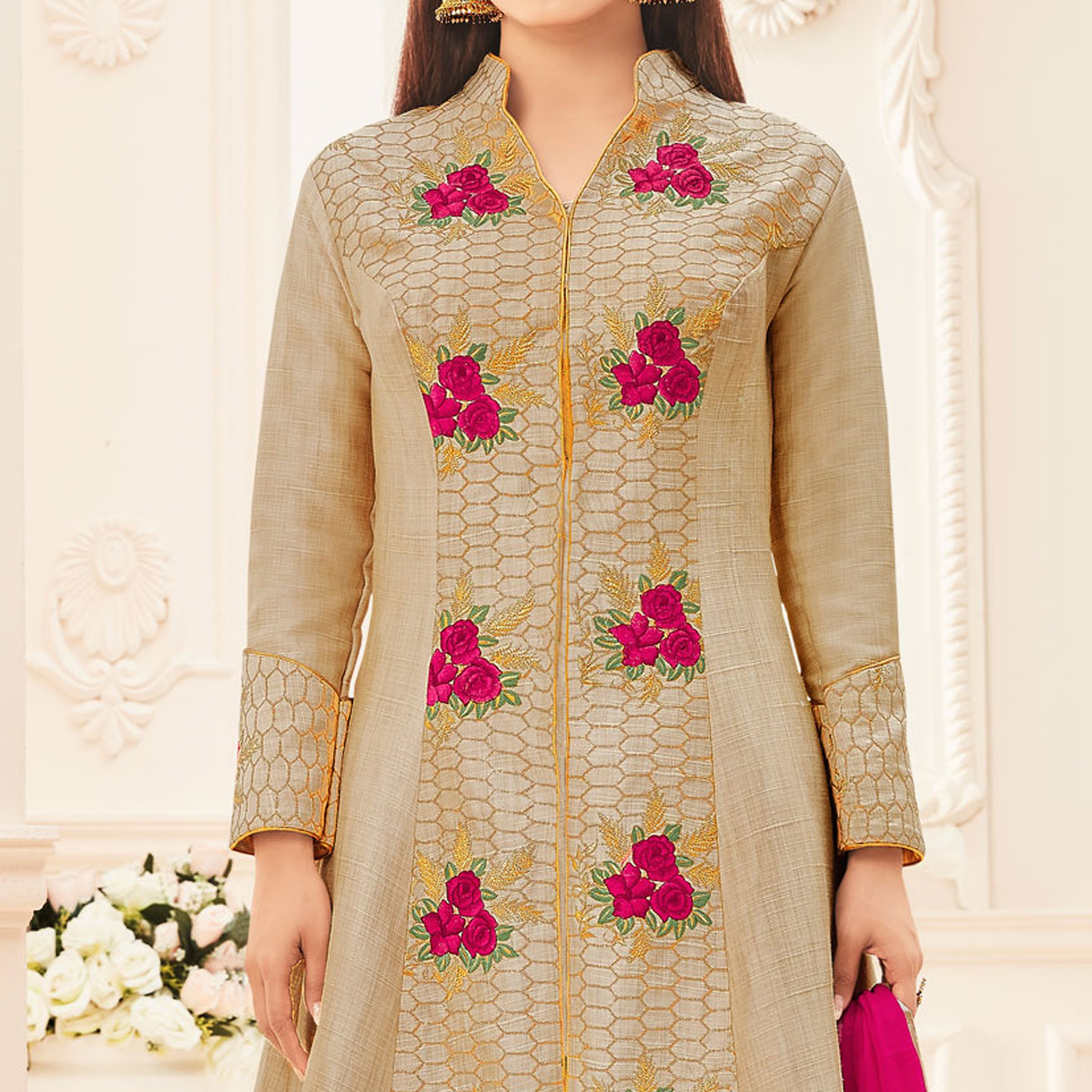Beige - Pink Embroidered Work Suit