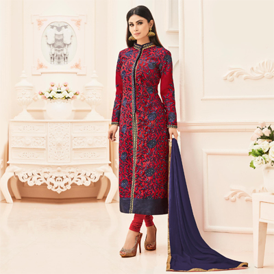 Red Straight Cut Heavy Embroidered Suit