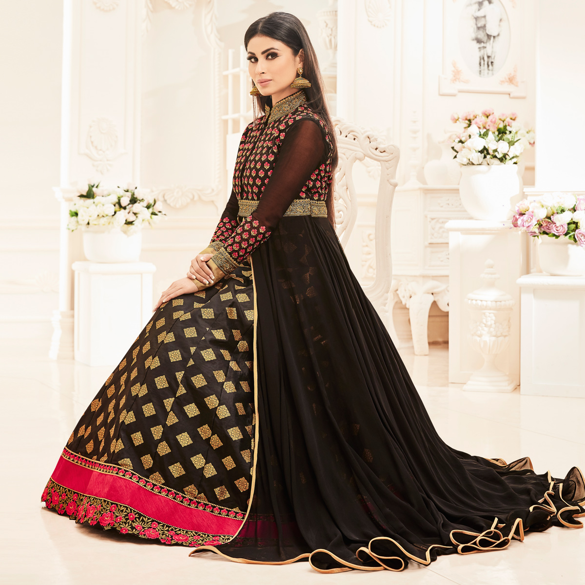 Black Heavy Embroidered Faux Georgette Lehenga Suit