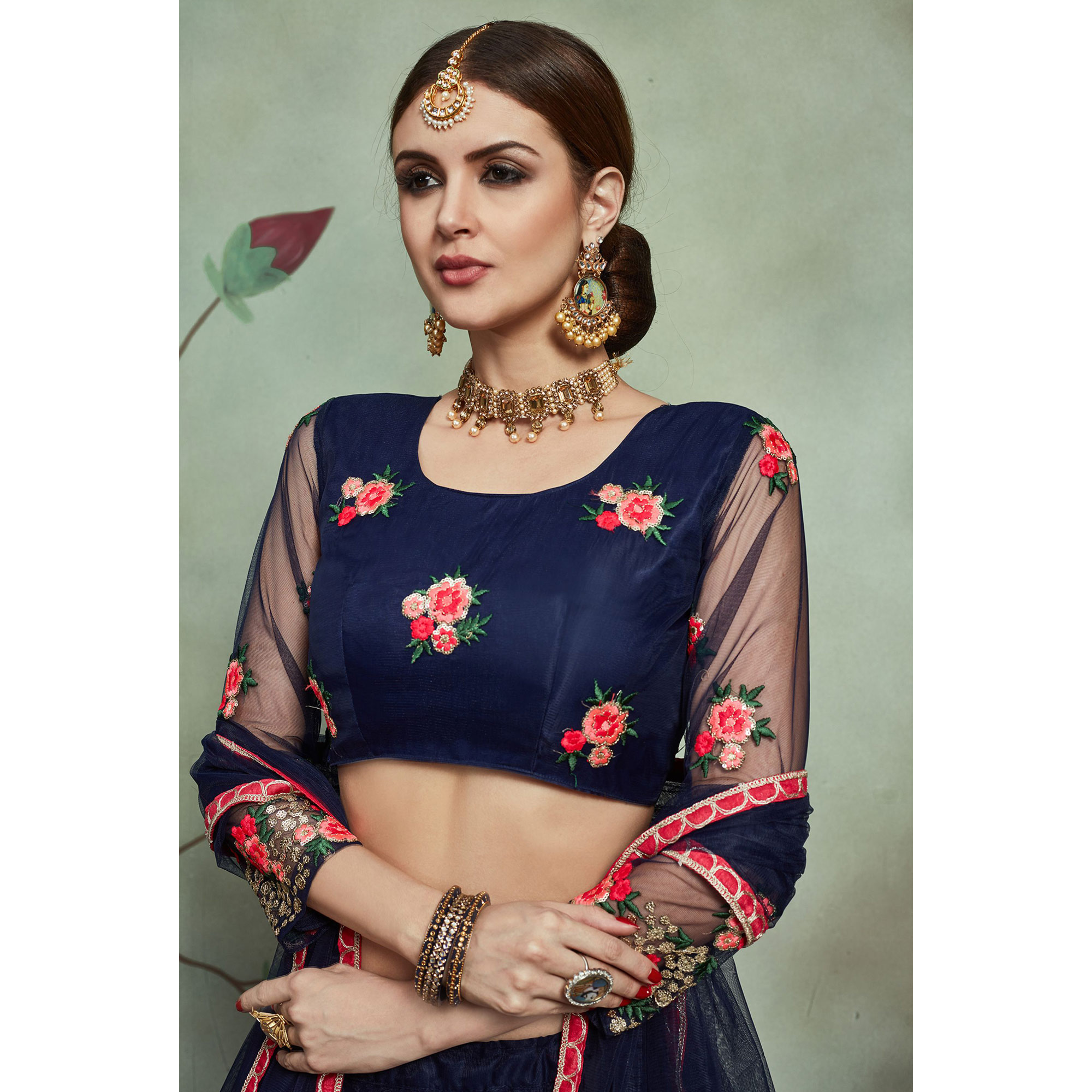 Hypnotic Navy Blue Colored Partywear Embroidered Netted Lehenga