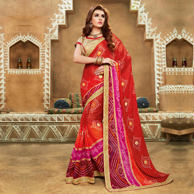 Multi Color Festive Wear Bandhej Saree