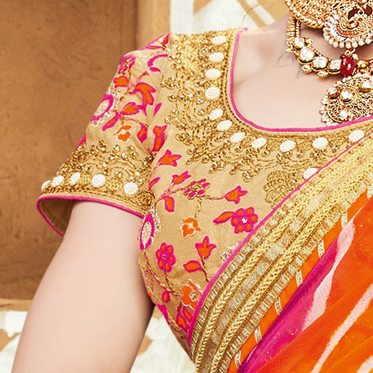 Yellow, Orange & Pink Leheriya Saree
