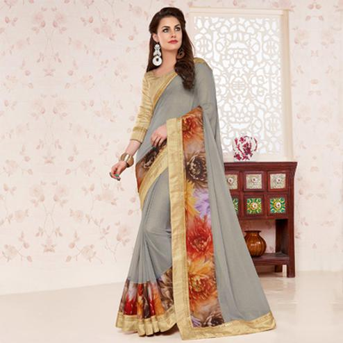 Grey Border Work Georgette Saree