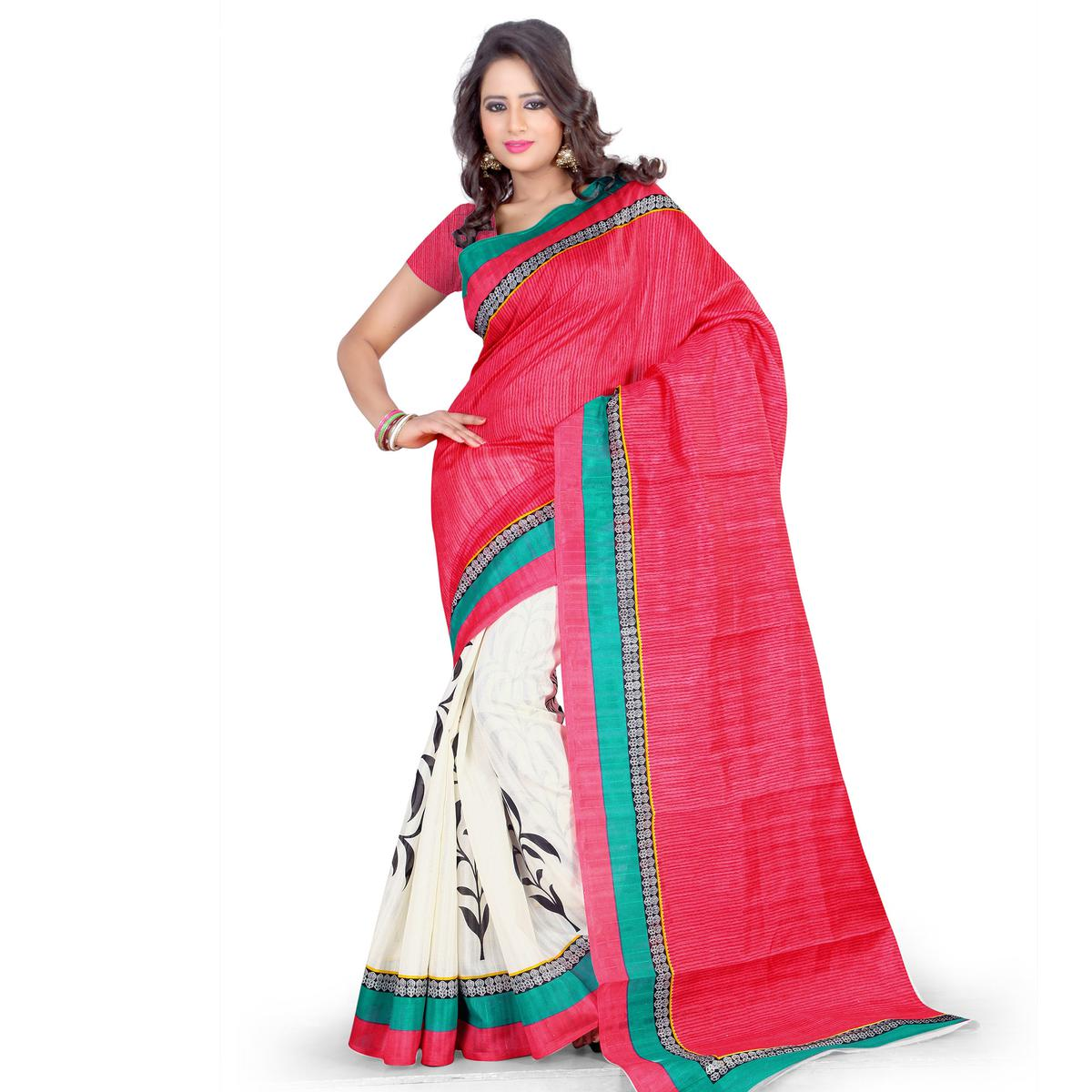 Red - White Casual Wear Saree